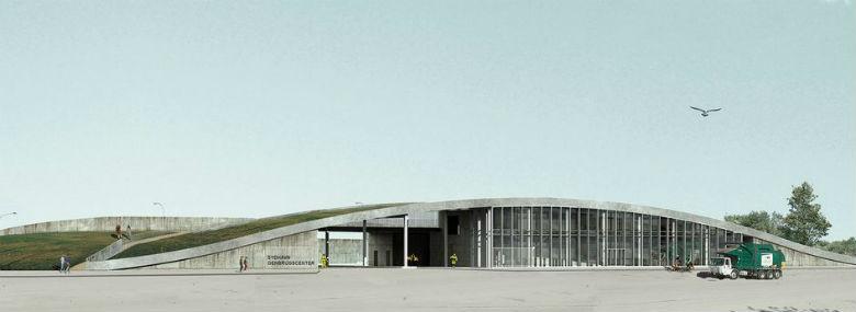 Sydhavn Genbrugscenter vinder Bæredygtig Beton Prisen. (Visualisering: Krilov A/S)