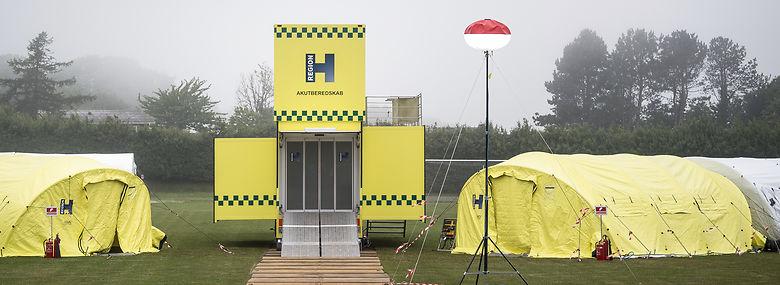 Den mobile behandlingsplads er i funktion under Folkemødet.<br />Foto: Mads Claus Rasmussen, Ritzau Scanpix