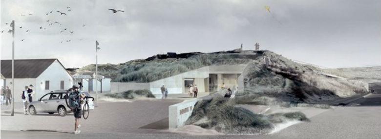 Nyt nationalparkcenter i Nørre Vorupør midt i Nationalpark Thy. Illustration: Loop Architects.