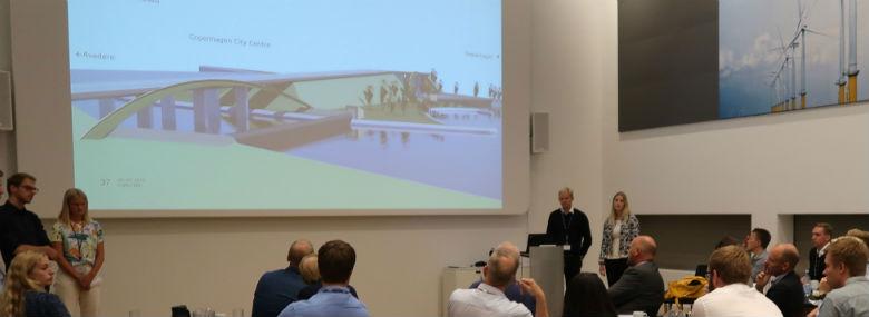34  ingeniørstuderende har givet deres bud på udviklingen af det planlagte erhvervsområde Holmene i Hvidovre Kommune.<br />Foto: Cowi Try