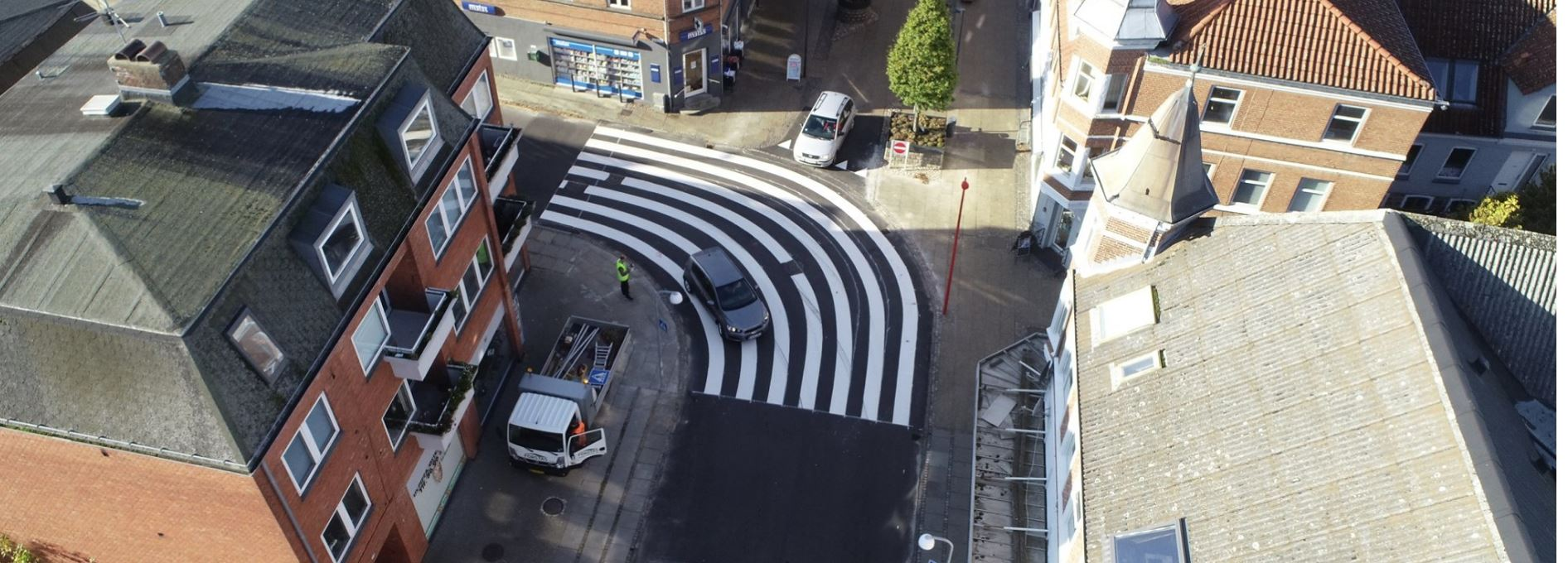 Det såkaldte Fotorama-kryds i Hammel.<br />Foto: Favrskov Kommune