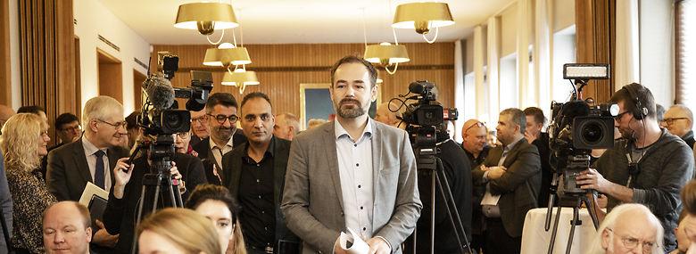 Jacob Bundsgaard (S) på dagens pressemøde.<br />Foto: Mikkel Berg Pedersen, Freelance/Ritzau Scanpix