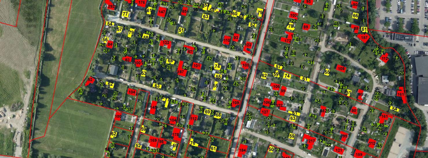 Røde bygninger: over 80 kvadratmeter, gule: mellem 50 og 80 kvadratmeter og grønne: under 50 kvadratmeter.<br />Foto: Vejle Kommune