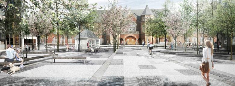Visualisering af Esbjerg Banegaard fra vinderprojektet for helhedsplanen.<br />Foto: Esbjerg Kommune