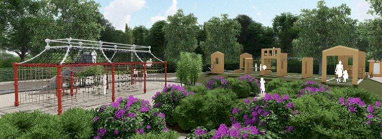 Det Kinesiske Lysthus på legepladsen tegnet af firmaet UNO-UNIQA Group. <br />Foto: UNO-UNIQA Group