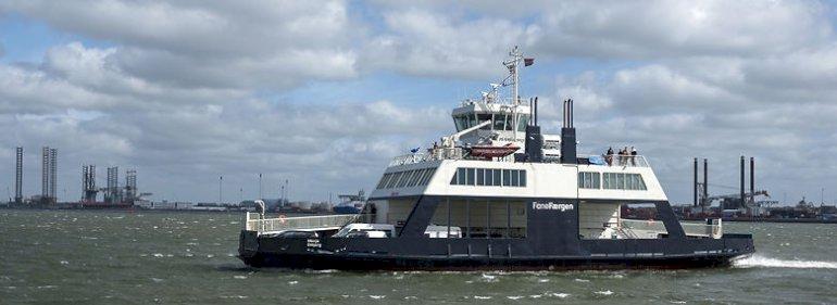 Der er blandt andet færgen Menja, der sejler mellem Esbjerg og Nordby, der skal bygges om til el-drift. <br />Foto: Johnny Madsen, Biofoto/Ritzau Scanpix
