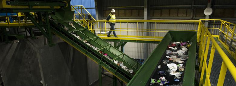 Fra det nye sorteringsanlæg på Renonord.<br />Foto: Renonord.